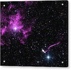 Pulsar Wind Nebula And Jet Acrylic Print by Nasa/cxc/isdc/l.pavan Et Al/csiro/atnf/atca/2mass/umass/ipac-caltech/nsf