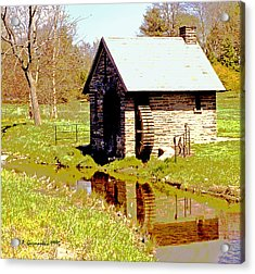 Pump House And Water Wheel In Autumn Digital Art Acrylic Print by A Gurmankin