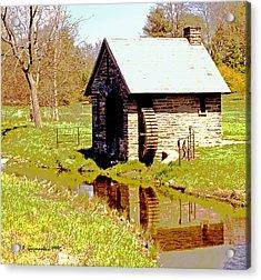 Pump House And Water Wheel In Autumn Digital Art Acrylic Print by A Gurmankin