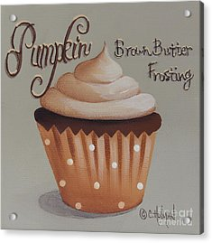 Pumpkin Brown Butter Frosting Cupcake Acrylic Print by Catherine Holman