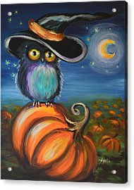 Acrylic Print featuring the painting Owl Bewitch You by Agata Lindquist