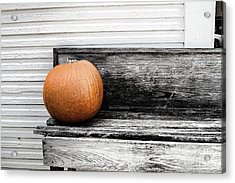 Pumpkin On A Bench Acrylic Print by Audreen Gieger