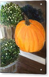 Acrylic Print featuring the painting Pumpkin On Doorstep by Cindy Plutnicki