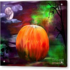 Pumpkin Skull Spider And Moon Halloween Art Acrylic Print by Annie Zeno