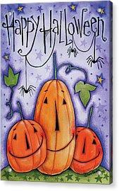 Pumpkin Trio Acrylic Print by Anne Tavoletti