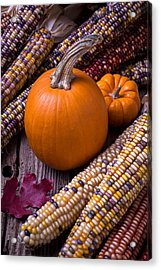 Pumpkins And Corn Acrylic Print by Garry Gay