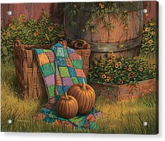 Acrylic Print featuring the painting Pumpkins And Patches by Michael Humphries