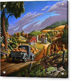 Pumpkins Farm Folk Art Fall Landscape - Square Format Acrylic Print