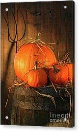 Pumpkins On Wine Barrel  Acrylic Print by Sandra Cunningham