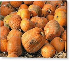 Acrylic Print featuring the digital art Pumpkins by Ron Harpham