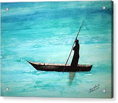 Acrylic Print featuring the painting Punt Zanzibar Boat by June Holwell