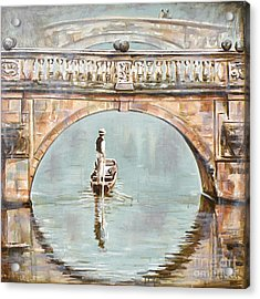 Punting On River Cam Under Clare Bridge Acrylic Print by Leigh Banks