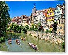 Punts On River Neckar In Lovely Old Tuebingen Germany Acrylic Print