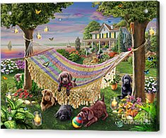 Puppies And Butterflies Acrylic Print by Adrian Chesterman