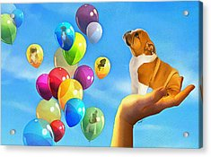 Puppy Balloon-a-gram Acrylic Print by Anthony Caruso