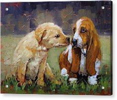Puppy Love Acrylic Print by Laura Lee Zanghetti