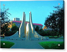 Acrylic Print featuring the digital art Purdue Mall Water Sculpture by Dennis Lundell