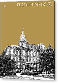 Purdue University - University Hall - Brass Acrylic Print by DB Artist