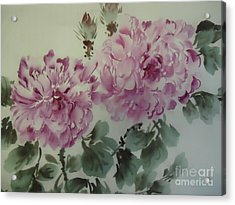 Acrylic Print featuring the painting Purle Flower427012-10 by Dongling Sun