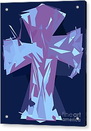 Purple And Blue Abstract Cross Design Pattern Acrylic Print by Minding My Visions by Adri and Ray