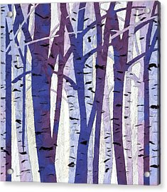 Plum And Blue Birch Trees - Plum And Blue Art Acrylic Print by Lourry Legarde