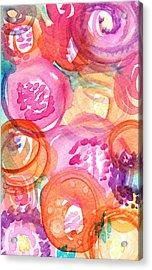 Purple And Orange Flowers Acrylic Print by Linda Woods