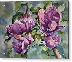 Acrylic Print featuring the painting Purple Beauties - Bougainvillea by Roxanne Tobaison