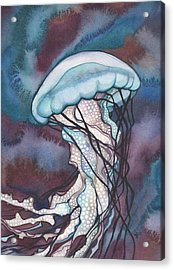 Purple Bold Jellyfish Acrylic Print by Tamara Phillips