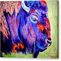 Purple Buffalo Acrylic Print by Tracy Rose Moyers