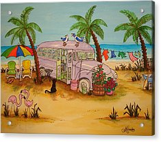 Purple Bus On Beach Acrylic Print by Joyce M Jacobs