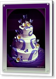 Purple Butterfly Wedding Cake Acrylic Print by Michelle Frizzell-Thompson