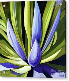 Acrylic Print featuring the painting Purple Cactus by Debbie Hart