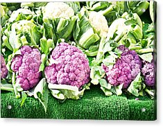 Purple Cauliflower Acrylic Print by Tom Gowanlock