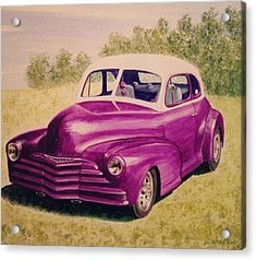 Acrylic Print featuring the painting Purple Chevrolet by Stacy C Bottoms