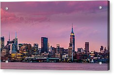 Acrylic Print featuring the photograph Purple City by Mihai Andritoiu