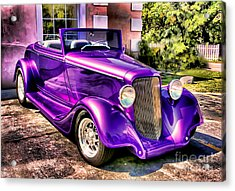 Acrylic Print featuring the photograph Purple Custom Roadster by Clare VanderVeen