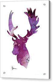 Purple Deer Head Silhouette Watercolor Artwork Acrylic Print by Joanna Szmerdt