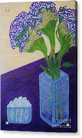 Acrylic Print featuring the painting Purple Flowers And Ice by Jasna Gopic