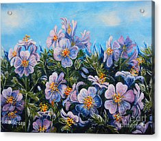 Purple Flowers Acrylic Print by Drinka Mercep