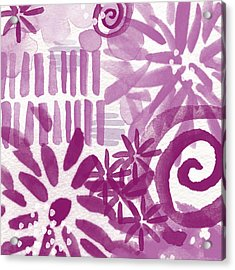 Purple Garden - Contemporary Abstract Watercolor Painting Acrylic Print by Linda Woods