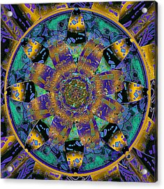 Purple Gold Dream Catcher Mandala Acrylic Print