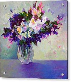 Purple Green Posy Acrylic Print