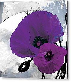 Purple Grey Poppy A Acrylic Print by Grace Pullen