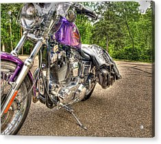 Purple Harley Acrylic Print by Thomas Young