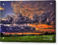 Purple Haze Clouds At Sunset Over The Hayfield Acrylic Print by Reid Callaway