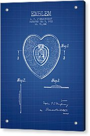 Purple Heart Patent From 1933 - Blueprint Acrylic Print