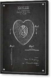 Purple Heart Patent From 1933 - Charcoal Acrylic Print