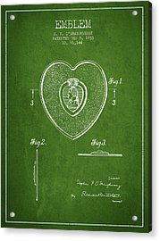 Purple Heart Patent From 1933 - Green Acrylic Print