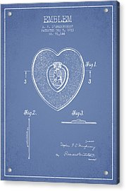 Purple Heart Patent From 1933 - Light Blue Acrylic Print