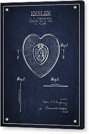 Purple Heart Patent From 1933 - Navy Blue Acrylic Print